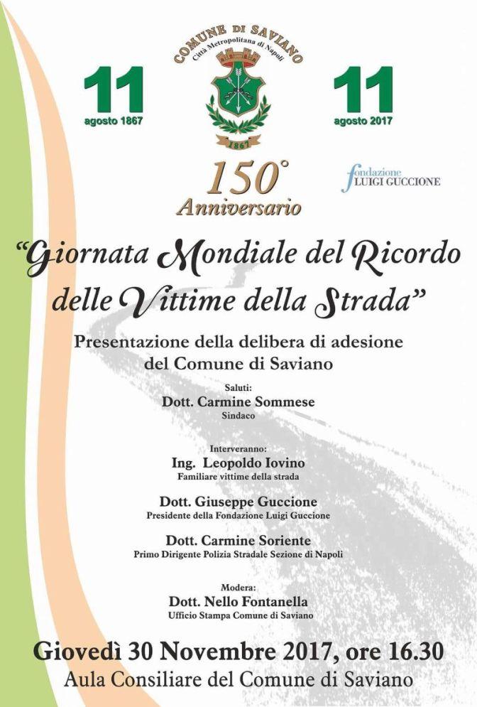 Saviano: Giornata Mondiale del Ricordo delle Vittime della Strada
